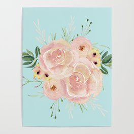 Wild Roses on Succulent Blue Green Poster