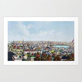 1877 Panoramic Portrait of Providence, Rhode Island by Packard and Schwegler Art Print