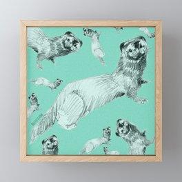 Mink in Bleu (pattern) Framed Mini Art Print