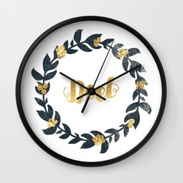 Minimal Christmas Wreath Noel Wall Clock