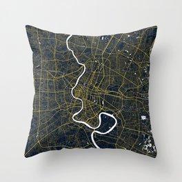 Bangkok, Thailand City Map - Gold Art Deco Throw Pillow