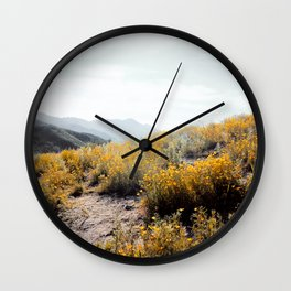 vintage style yellow poppy flower field with summer sunlight Wall Clock