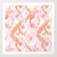 Pink Coral Ikat Diamonds Art Print