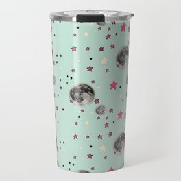 Paper Moon Collection - Mint Green Moon and Stars Travel Mug