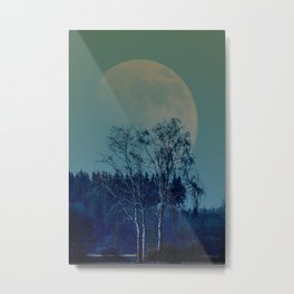 Concept landscape : Moon behind the tree Metal Print