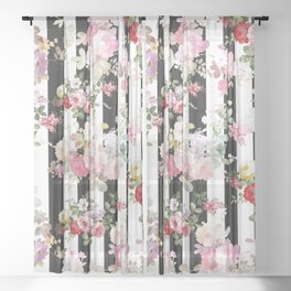 Bold pink watercolor roses floral black white stripes Sheer Curtain