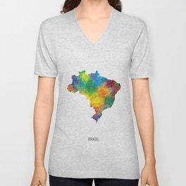 Brasil Watercolor Map Unisex V-Neck