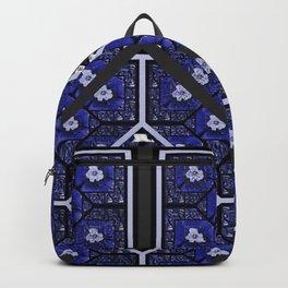 Cherokee Rose Pattern 2 royal blue and black Backpack