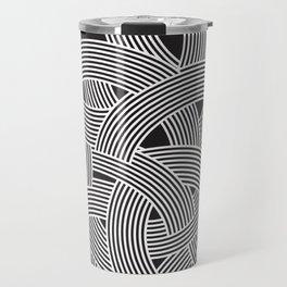 Modern Scandinavian B&W Black and White Curve Graphic Memphis Milan Inspired Travel Mug