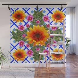 Blue-white Green Sunflowers Dahlias Art Design Pattern Wall Mural