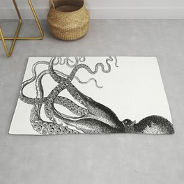 Half Octopus (Left Side) | Vintage Octopus | Diptych | Black and White | Rug