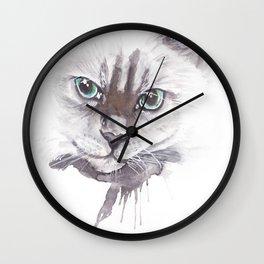 Cat Ragdoll Watercolor painting Wall Clock