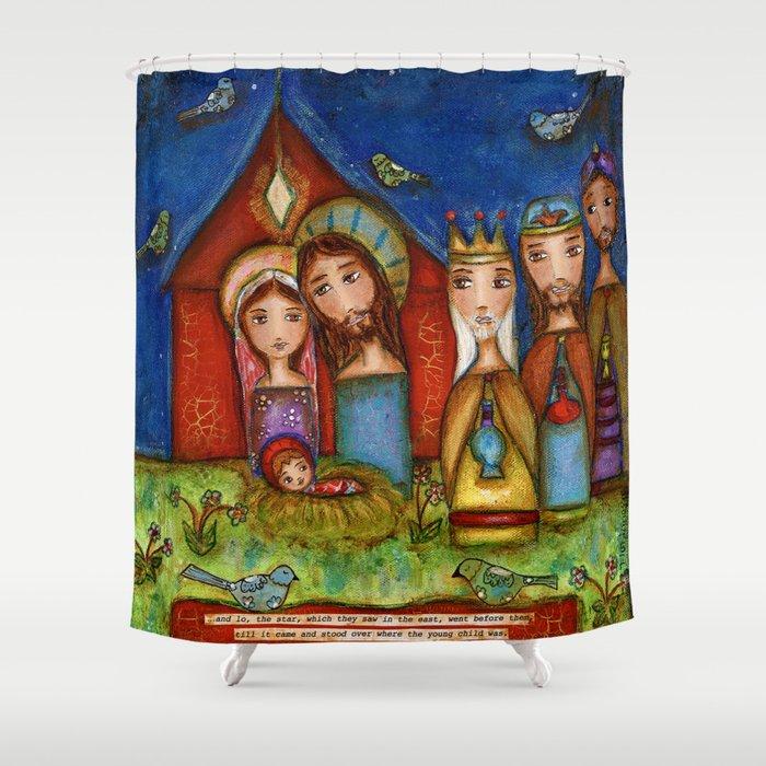 Nativity With Birds Shower Curtain By Florlariosart