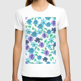 Watercolor cornflower, forget-me-not, rose green leaves Seamless pattern on white background T-shirt