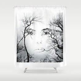 face in the trees Shower Curtain