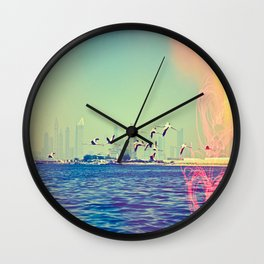 Flamingo Hearts Wall Clock