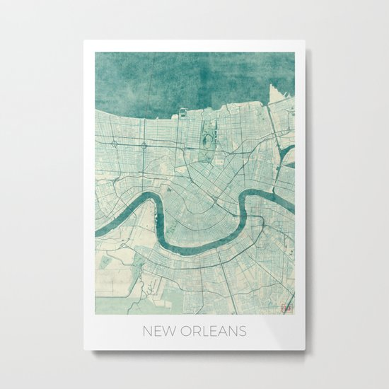 New Orleans Map Blue Vintage Metal Print