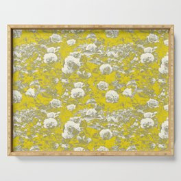Grey and Yellow Rose Garden Serving Tray