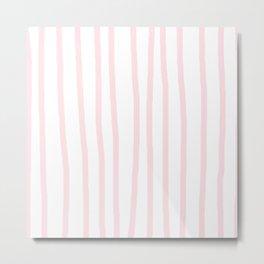 Simply Drawn Vertical Stripes in Flamingo Pink Metal Print