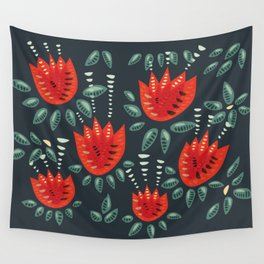 Abstract Red Tulip Floral Pattern Wall Tapestry