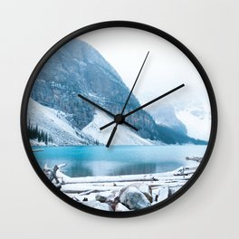352. Quiet Moraine Lake under snow, Banff, Canada Wall Clock