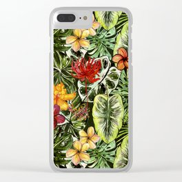 Tropical Vintage Exotic Jungle Flower Flowers - Floral watercolor pattern Clear iPhone Case