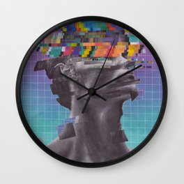 glitch portrait in a digital style, painted with acrylics. Wall Clock