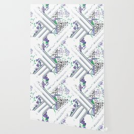 Delicate floral and geometric abstraction Wallpaper