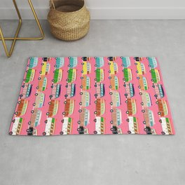 Retro Vans & Surfboards Hot Pink Background Rug