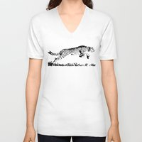cheetah V-neck T-shirts featuring Cheetah by ClockworkMonster