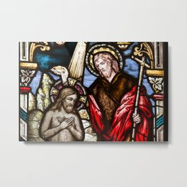 Baptism of Jesus Christ Stained Glass Window Metal Print