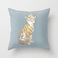 grumpy Throw Pillows featuring Grumpy by Mr. Morris can Meow!