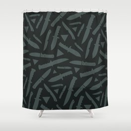Survival Knives Pattern - Midnight Forest Shower Curtain
