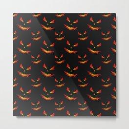 Sparkly Jack O'Lantern face Halloween pattern Metal Print