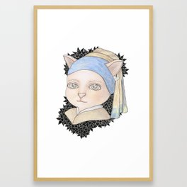 Cat with a Pearl Earring Framed Art Print