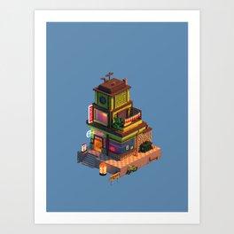 Voxel Ramen Shop Art Print