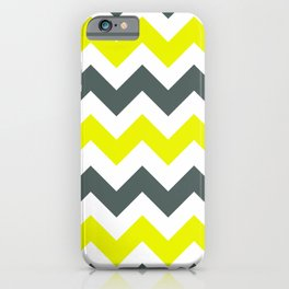 Chevron Pattern In Limelight Yellow Grey and White iPhone Case