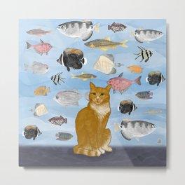 Kitty Dreams - Gwenny Watching the Fish Tank Metal Print