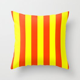 Bright Neon Orange and Yellow Vertical Cabana Tent Stripes Throw Pillow