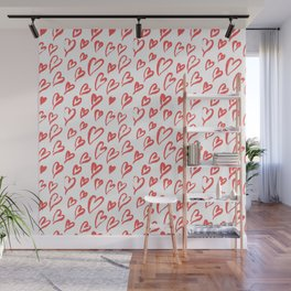 Red hearts seamless pattern Wall Mural