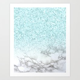 She Sparkles Turquoise Marble Luxe Geometric Art Print