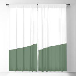 Stripe Block (sage green/white) Blackout Curtain