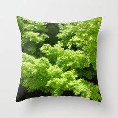 Japanese Maple Green Throw Pillow
