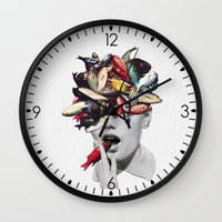 eugenia loli Wall Clocks featuring Ωmega-3 by Eugenia Loli