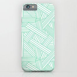 Sketchy Abstract (Mint & White Pattern) iPhone Case