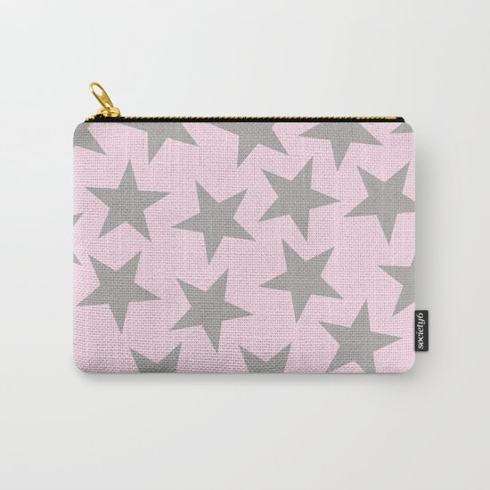 Grey stars on pink background pattern Carry-All Pouch