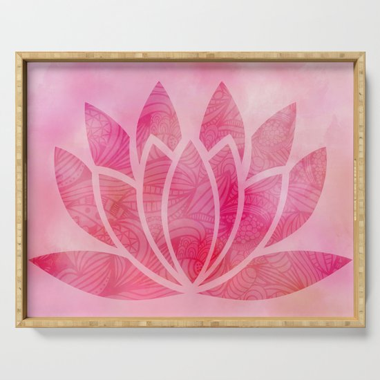 Zen Watercolor Lotus Flower Yoga Symbol Serving Tray By Ruthart Society6
