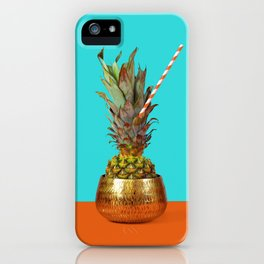 Pineapple with eco straw in golden vase. iPhone Case