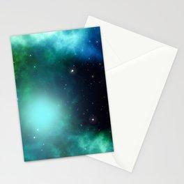 Beautiful Green Nebula filled with Stars Stationery Cards
