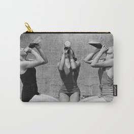 What the girls drink when the guys aren't looking - three girlfriends drinking at the beach black and white photograph Carry-All Pouch